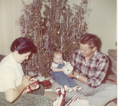Mom, Dad and J.T., Christmas 1960